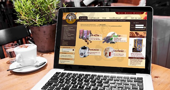 Balzac Coffee - Website mit integriertem Onlineshop